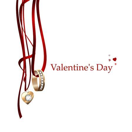 postcard: Vector illustration Postcard Valentines Day.