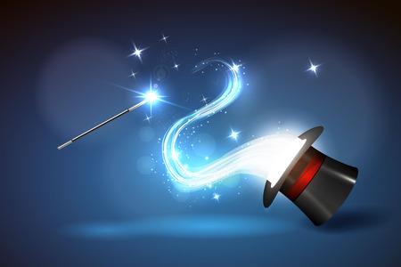 Vector ilustración de fondo varita mágica y el brillo