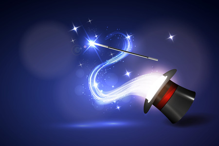 Vector illustration background wand and magical glow