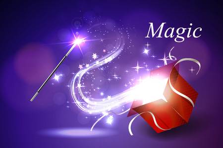 Vector illustration colorful magic box. Vettoriali