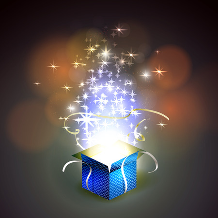 Vector illustration de boîte colorée magique.