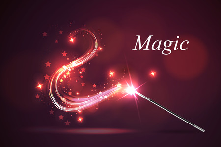 white magic: Vector illustration kolorful magic wand.