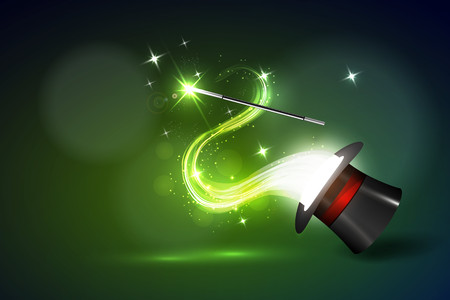 magus: Vector illustration background wand and magical glow