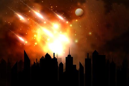 Ilustración vectorial de un meteoro sobre la ciudad.