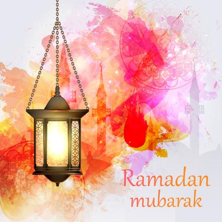 fasting: Vector Illustration Ramadan Kareem Lantern. Illustration