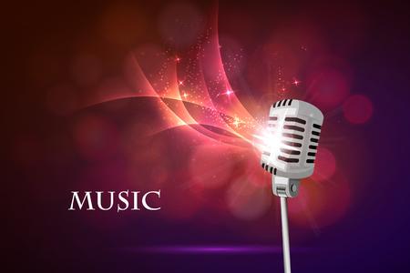 microfono antiguo: Ilustraci�n vectorial de un viejo micr�fono y notas musicales.