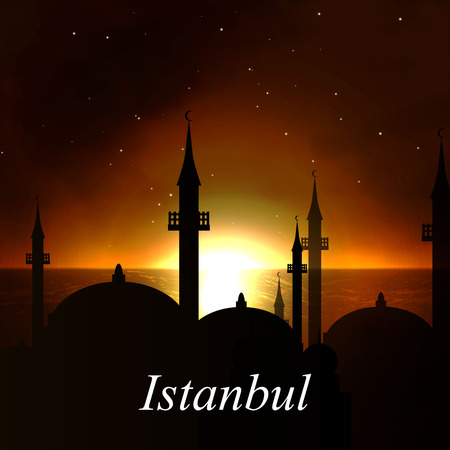illustration Abstract sunset in Istanbul.