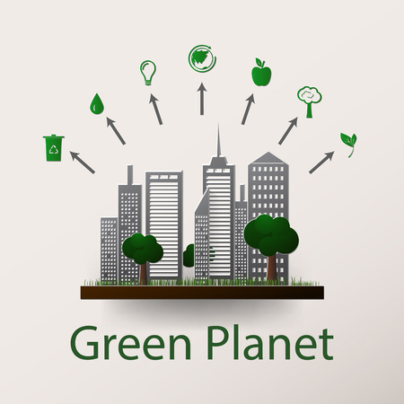 green building: Vector illustration of a concept green planet, flat style.