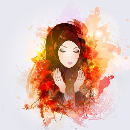 Abstract illustration of girl reads a prayer, a Muslim, Islam.