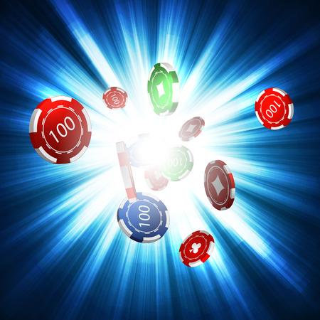 Chips, das Konzept eines Casinos. Vektor.