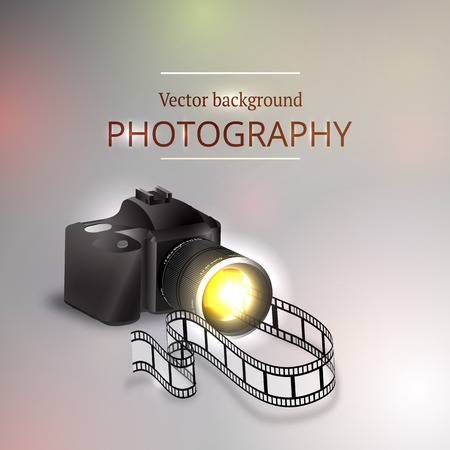 Vector illustration of the concept of shooting photos and video.Kamera and abstract film.