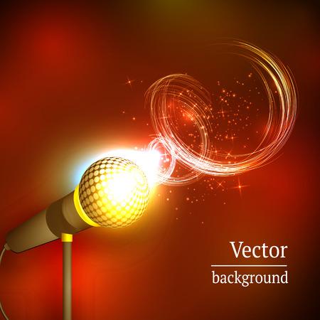 Vector illustration of a concept of karaoke, microphone, song, concert Illustration