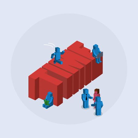 The concept of teamwork. Isometric vector work.