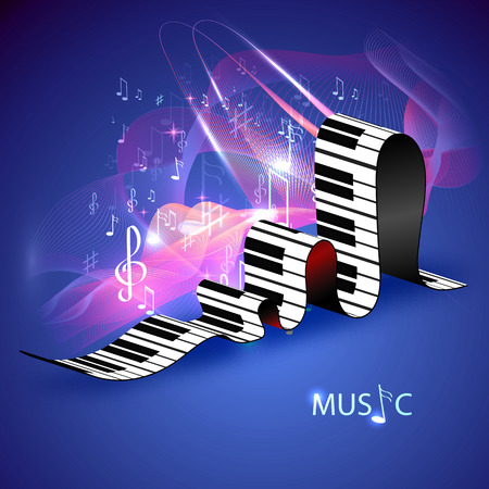 ebony: Musical symbol. Vector piano keys with staff and notes.