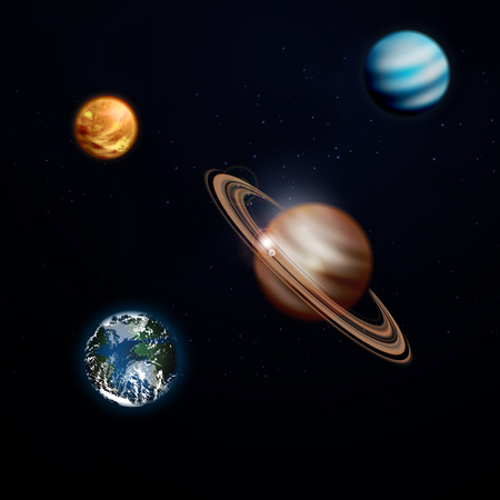 A set of planets in space, Saturn, earth, Venus. Vector