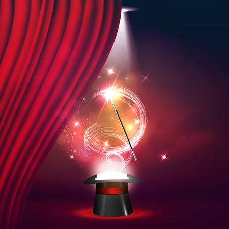 Ilustración hermosa de un El concepto de espectáculos de magia y entretenimiento.