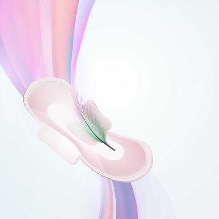 Vector illustration of female days, menstruation, pads. On a black background.