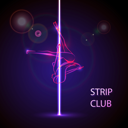 Vector illustration of a strip club concept, neon girl. Ilustrace