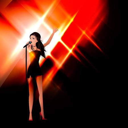 무대에있는 소녀가 마이크에 노래를 부릅니다. 일러스트