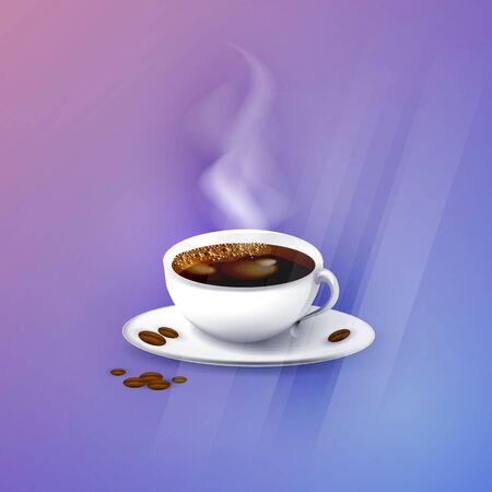 Hot coffee on colorful background illustration. Illustration