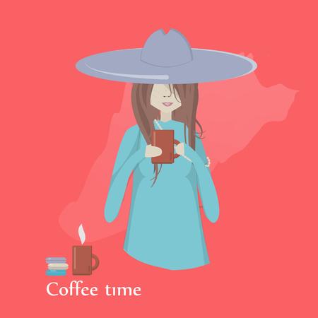 Ilustración de vector de una niña tomando café.