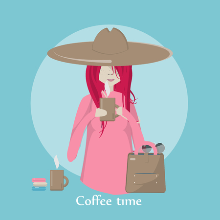 Vector illustration of a girl drinking coffee.