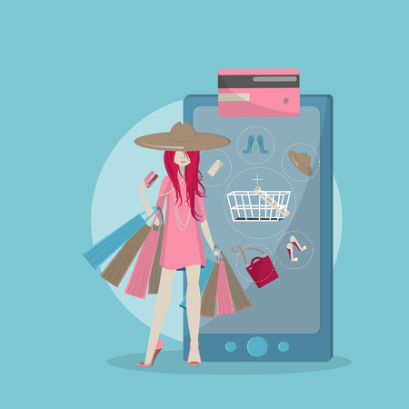 The girl is shopping online. 向量圖像