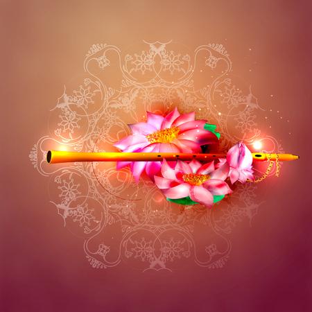 Lord Krishna Indian God Janmashtami festival holiday. Vector illustration Vector Illustration