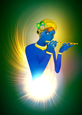 Image avatar of God Krishna. Hinduism is a religion. Vector. Stock Vector - 118473651