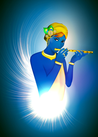 Image avatar of God Krishna. Hinduism is a religion. Vector.