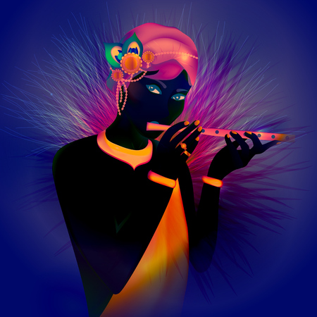 Image avatar of God Krishna. Hinduism is a religion. Vector. Stock Vector - 118473654