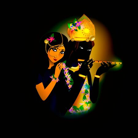 Avatar images of God Krishna and Radha. Hinduism is a religion. Vector. Vectores