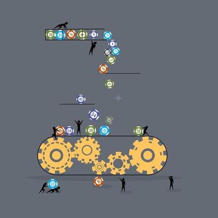 Flat style concept of the lottery, little people move the balls.