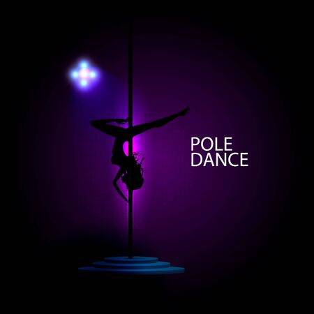 Tanzkonzept Mädchen tanzen auf einem Pylon. Sexy Bild eines Mädchens. Vektorillustration für Abdeckung und Werbung eines Tanzclubs.