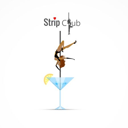 A girl on a pole is dancing in a club. Vector abstract background.
