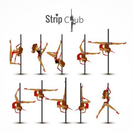 Ein Mädchen auf einer Stange tanzt in einem Club. Vektor abstrakter Hintergrund. Vektorgrafik