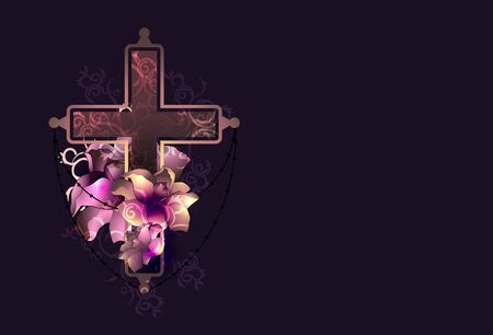 Ornate christian cross with flowers vector. Religion concept. Vector Illustration