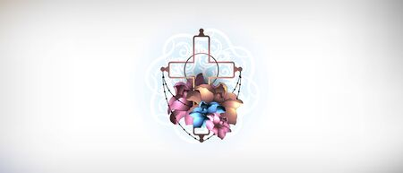 Ornate christian cross with flowers vector. Religion concept. Ilustrace