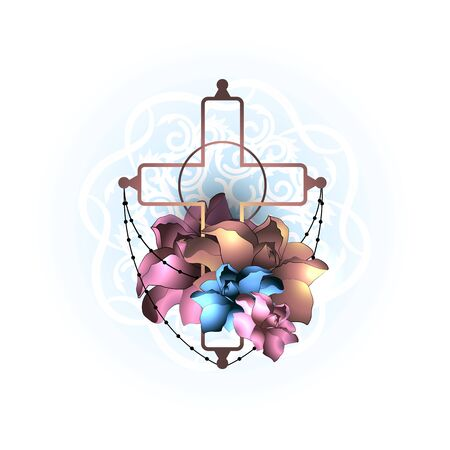 Vector illustration concept religion christian cross with flowers. Abstract background.