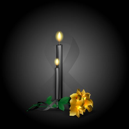 Vector illustration of a cross with flowers. The concept of the end of life, religious rite.
