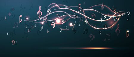 Vector illustration concept music background. Key notes of gamma. Waves of sound.