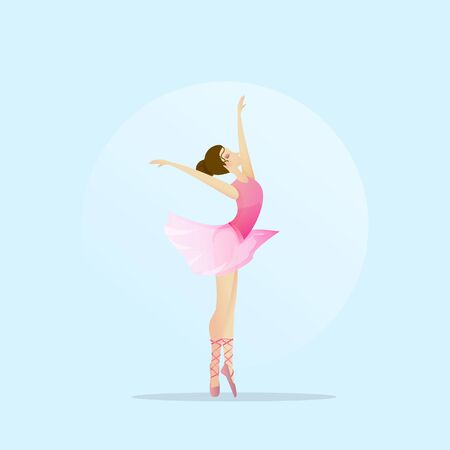 Vector silhouette of a girl dancing in ballet. Plastic and acrobatics. Archivio Fotografico - 143071441
