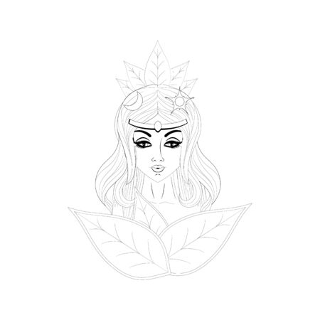 The image of a young, beautiful girl with long hair. The personification of the arrival of spring. Suitable for banner cover. With leaves on his head. Designation of the sun and moon.