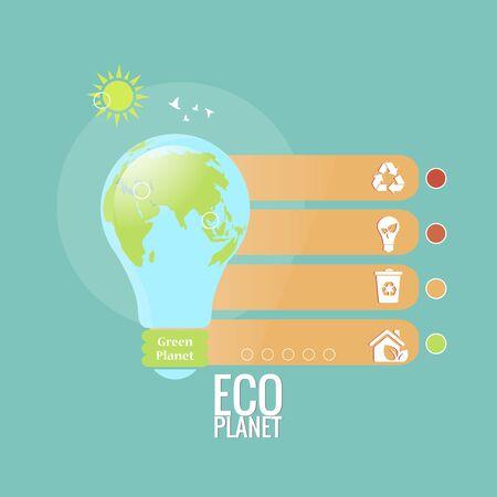 Vector isolation of sustainability concept of environmental protection of ecological planet Vektoros illusztráció