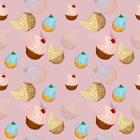 Bright cupcakes set eps10 vector illustration, 3D. sweets.