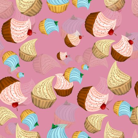 Bright cupcakes set eps10 vector illustration, 3D. sweets.  イラスト・ベクター素材