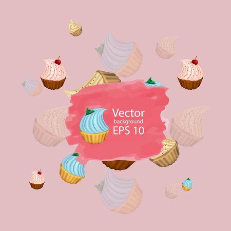 Bright cupcakes set eps10 vector illustration, 3D. sweets. Stock Illustratie