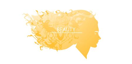 Vector illustration of a silhouette of a girl with abstract hairstyle. The concept of beauty, fashion.
