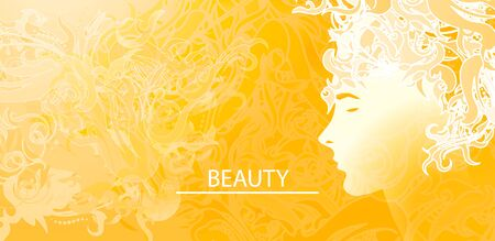 Vector illustration of a silhouette of a girl with abstract hairstyle. The concept of beauty, fashion. Vektorové ilustrace