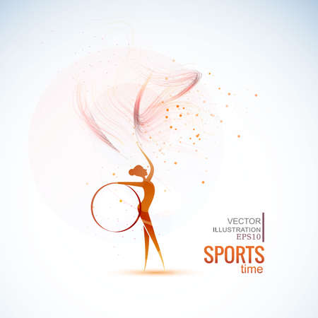 Vector illustration gymnast girls force. Abstract background for banner. Vektorové ilustrace